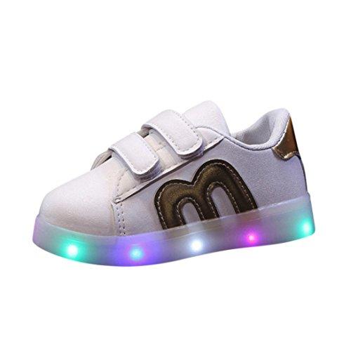 FNKDOR Kinder Baby Schuhe LED Licht Leuchten Leuchtende 20-29 Turnschuhe Sneaker (20 EU(21CN) 13CM,Gold)