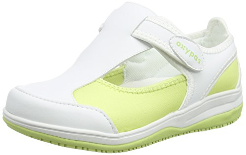 Oxypas Medilogic Candy Slip-resistant, Antistatic Nursing Shoes in White with Light Green Size 39 EU (5.5 UK)