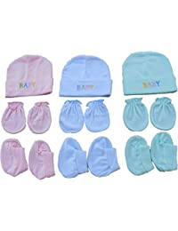 BornBabyKids New Born Baby Cotton Caps Booties Mittens Combo Set (0-6 Month,Color may vary)