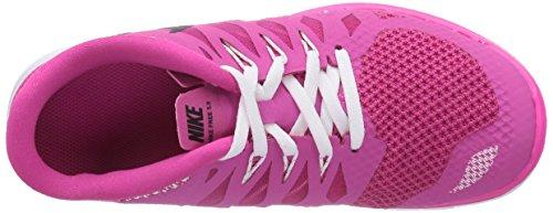 Nike Mädchen Free 5.0 Laufschuhe Pink (Hot Pink/Black/White)