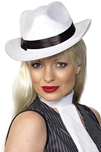 Smiffys Unisex Gangster Hut mit Band, One Size, Weiß, 25981 (Mafia Kostüm Für Damen)
