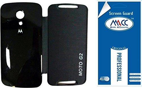 MACC Flip Cover Case For Motorola Moto G2 / MotoG2 XT1068 (2nd Gen) - Black + MACC Clear Screen Guard