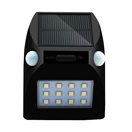 Dicomi 12 LED Solar Gartenlicht Lichtsensor & Infrarotsensor IP65 Professionelle Wasserdicht Lampe für Korridor, Gartentor,das Dach des Daches,Wände anderer Hof im Freien(12000K) Schwarz