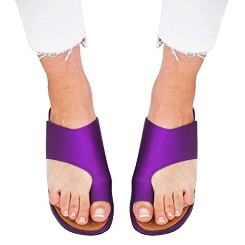 QLING Sandalias ortopédicas para Mujer, Ultra cómodas, de Verano, con Clip, para Verano, Informales, de Piel sintética, con Puntera Abierta, Zapatillas de Moda, Morado, 37