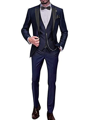 54r-anzug (YYI Männer Anzug Slim Fit 3-teilige Formale Business-Jacke Weste Anzughose)