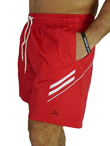 MAWASHI XL 2XL 3XL 4XL mit markantem LOGO und dezenten Streifen mehrere Farben Herren Badeshorts MW2019Q Rot