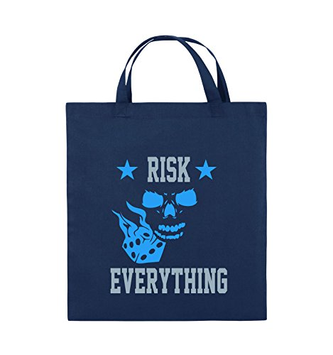 Comedy Bags - Risk everything - Jutebeutel - kurze Henkel - 38x42cm - Farbe: Schwarz / Weiss-Neongrün Navy / Eisblau-Hellblau