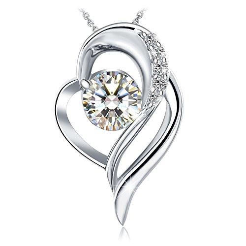 """♛J.Rosée♛ Collana""""Cuore Avvolto Classic""""Argento s925 e 5A Zirconi con un Grande Diamante Buon Regalo per Donna/Mamma"""