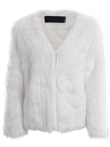 Simplee Apparel Damen Mantel Winter Elegant Warm Faux Fur Kunstfell Jacke Kurz Mantel Coat Weiß (Mantel Weiße Jacke)