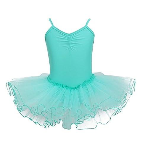 FEESHOW Fille Tutu Robe de Ballet Danse avec Culotte Bretelle Spaghetti 2-12 Ans Turquoise 11-12 ans