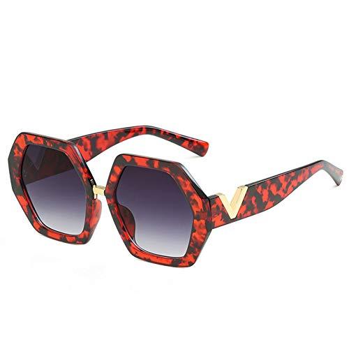 Taiyangcheng Polarisierte Sonnenbrille Mode Vintage sechseckige Sonnenbrille Retro gradienten geometrischen Rahmen Brief Beine Sonnenbrille männer weibliche Brillen,a3
