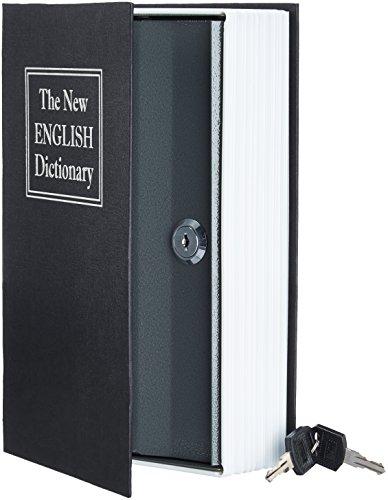AmazonBasics - Cassetta portavalori a forma di libro, Serratura con chiave, Nero