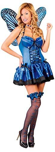 Sexy Fee Kostüm Blaue - Fancy Me Damen Sexy Blau Schmetterling Fee Insekten Tier Henne Do Kostüm Kleid Outfit 12-14 - Blau, 12-14