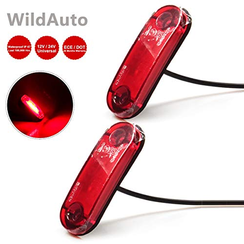 WildAuto Luci di posizione per Auto laterali Luci di Indicatore luce di sicurezza,indicare lunghezza,larghezza e altezza,Impermeabile Universale 12V/24V,per camion, rimorchio,camper ect. (Rosso, 2 Pz)