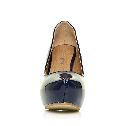 Scarpe da Donna Scollate con Tacco Alto a Spillo Nere Lucide in Finta Pelle con Plateau Nascosto H251 Blu navy effetto vernice