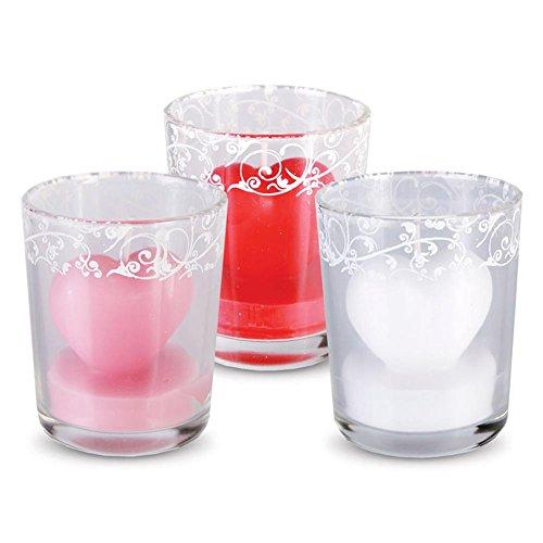3 x HC-Handel 916031 Glas mit Herz-Kerze & Dekor Windlicht Hochzeit Liebe Valentinstag - sortiert - 6 x5 cm
