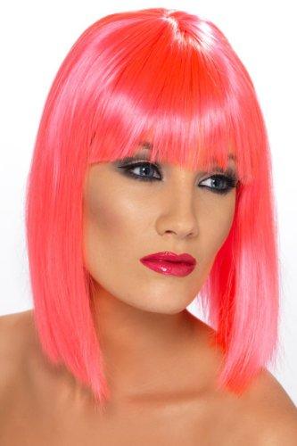 Pinke Damenperücke Perücke Damen Pink Bob Glamour Go Go Tänzerin Groovy Groove (Go Kostüme Go Tänzerin)