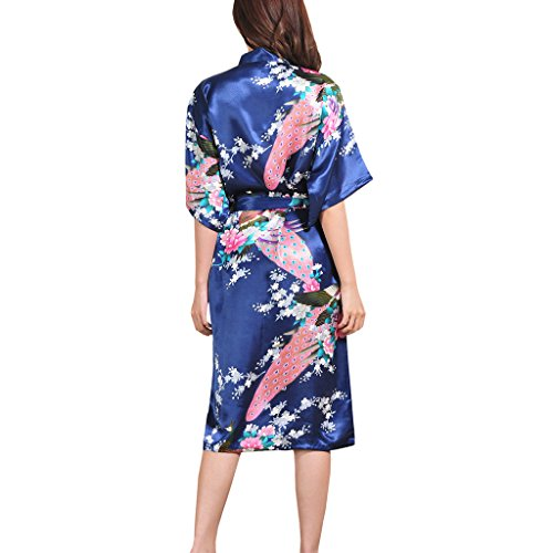 Waymoda Women's Luxury Silky Satin Nightwear Dressing Gown, Peacock and Blossoms Pattern Kimono Pajamas, 10+ Color, 5 Sizes Optional - Long style Dark Blue