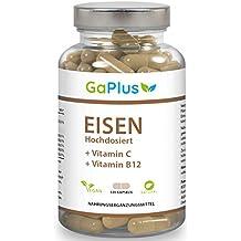 EISEN Hochdosiert, Natürliches Eisen + Vitamin C + Vitamin B12. 28mg reines Eisen und 100mg Vitamin C pro Kapsel. - Müdigkeit + Energie + Immunsystem, 120 Kapseln im 4 Monatsvorrat