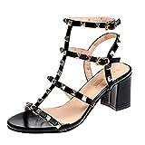 Rcool Zapatos de tacón zapatos de tacón alto mujer zapatos de tacón transparentes,Hebilla Correa Remache Zapatos de fiesta de tacón alto Tacones cuadrados Sandalias