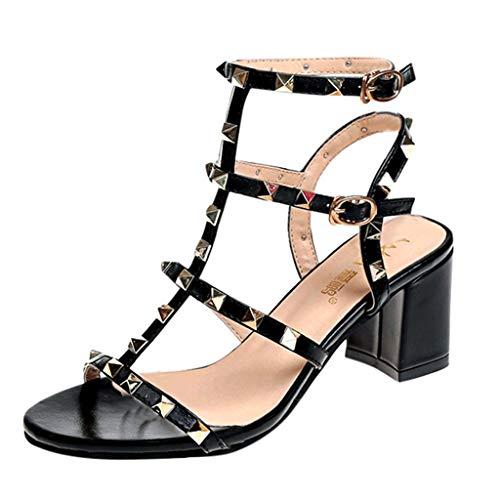 MORETIME Scarpe da Ginnastica Donna,Moda Donna Fibbia Cinturino Rivetto Tacco Alto Partito Scarpe Quadrati Tacchi Sandali