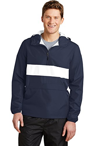 Sport-Tek® Zipped Pocket Anorak. JST65 True Navy/ White S (Sport-tek Anorak)