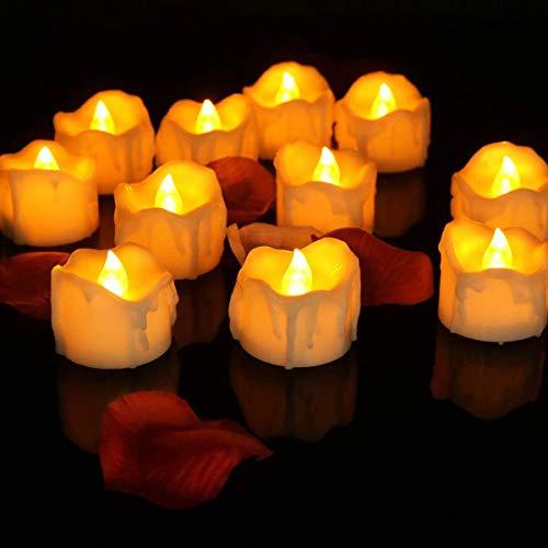 EMOGA 12 Velas Led Sin Llama Fuego Luces De Té - Velas Electrónicas con Baterías Incorporadas para San Valentín, Fiestas, Navidad, Festivales Decoración