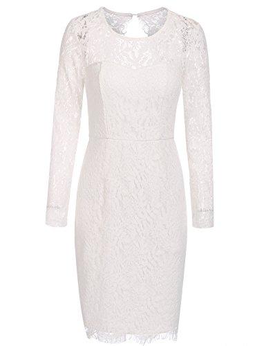 Damen Elegant Spitzenkleid Rundhals Knielang Vintage Kleid Langarm aus Spitze Rückenfrei Midikleid...