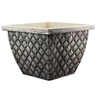Muddy Hands Stone Blackwash Quilted Large Plant Pot Square Plastic Planter Outdoor Garden