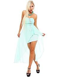 Damen Vokuhila-Minikleid Kleid Chiffon dress Türkis Cocktailkleid