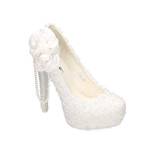 Damen Brautschuhe Hochzeit Pumps Weiß Strass Nieten Stilettos Elegant High Heels Plateau Abend Schuhe Bequem Weiß 26
