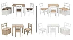 Original IMPAG® Kinder-Sitzgruppe mit Qualitäts-Beschlag | Nordische Fichte |Ergonomisch |Top Möbel-Qualität (Natur/Weiß Alt)