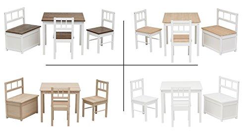 Preisvergleich Produktbild Impag Kindersitzgruppe aus europäischem Buche-Hartholz 1 Tisch, 2 Stühle, 1 Truhenbank mit Deckelbremse, 4 Varianten wählbar Anni