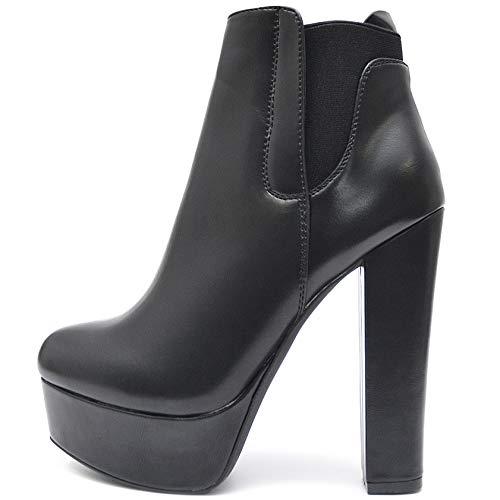 Vain Secrets Damen Chelsea Plateau Boots Stiefeletten mit Absatz Profil Sohle (36 EU, Schwarz M10)