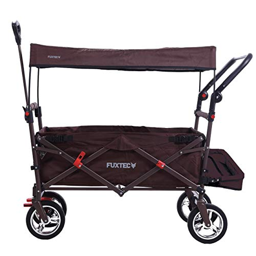 FUXTEC faltbarer Bollerwagen FX-CT800 braun klappbar mit Dach, Vorder- und Hinterrad-Bremse, Vollgummi-Reifen, Bügel,Innenraumverlängerung für extra lange Beine, für Kinder geeignet - Das Original !