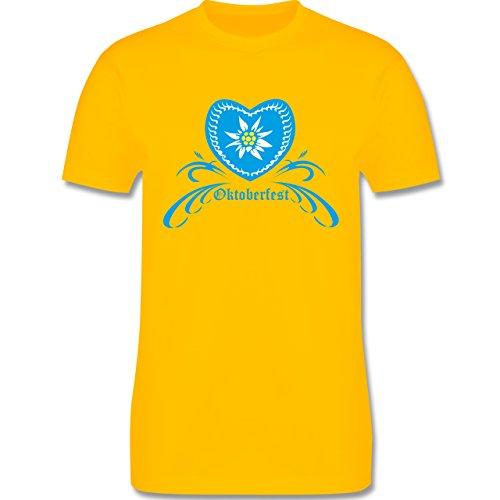 Oktoberfest Herren - Oktoberfest - Herz mit Edelweiss - Herren Premium T-Shirt Gelb