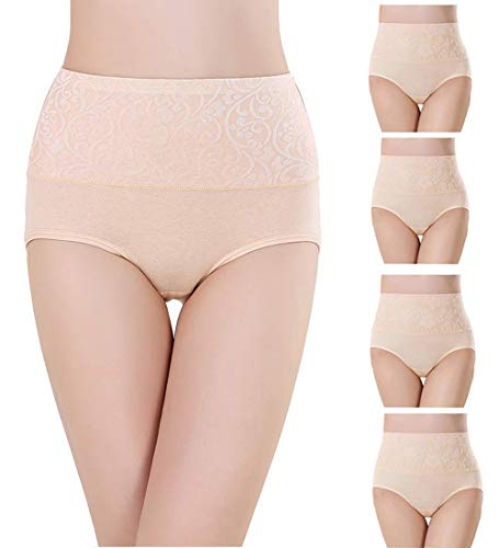 Misolin Damen Slips Baumwolle Panties Hoher Taille Unterhosen Taillenslip Gemütlich Unterwäsche Beige 4 Pack Tag 4XL (EU 48-50) Bambus Slip