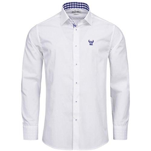 Trachtenhemd Slim Fit zweifarbig in Weiß und Blau von Gweih und Silk, Größe:S;Farbe:Weiß