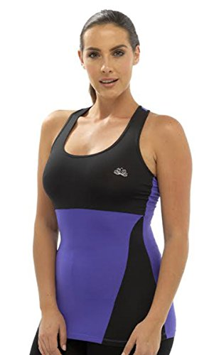 Damen Tom Franks Zwei Ton Sport Yoga Gym Fitness Top Mode Weste Sportswear Violett