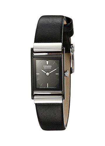Citizen EW9215-01E – Reloj de cuarzo para mujer, correa de cuero color negro