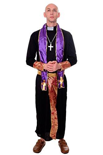 Exorzist Halloween Kostüme (DRESS ME UP - Kostüm Herren Herrenkostüm Priester Pfarrer Kirche Abt Exorzist Gr. S / M)