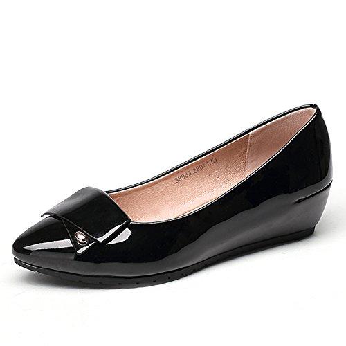 Lumière automne cales chaussures/Femmes avec cuir verni ronde tête haute Chaussures femmes A