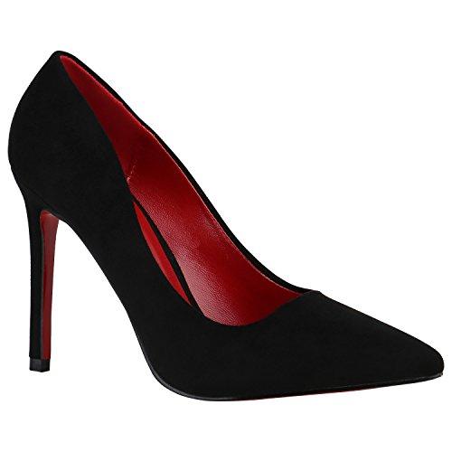 Stiefelparadies Spitze Damen Pumps Stilettos Lack Schuhe High Heels Elegant 155221 Schwarz Rote Sohle 39 Flandell
