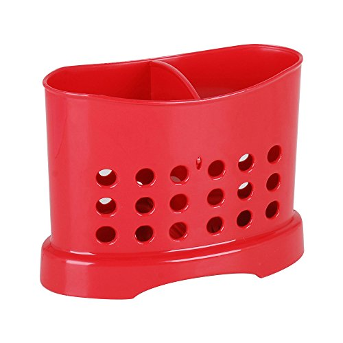 Plastic Cutlery Drainer Caddy Holder (Red)