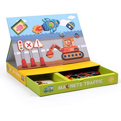 QHWJ Toy Puzzle, Lernspielzeug für Kinder, kreative Magnetkarte, Verkehrsveränderung, Gesichtsform, Papierpuzzle, 3 Jahre oder älter,Traffic