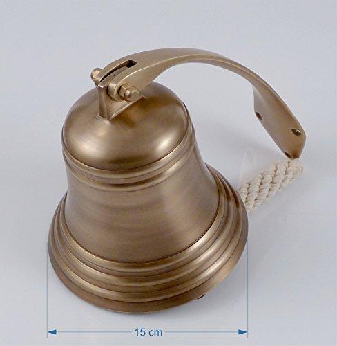 Messing Wandhalter (Schiffsglocke Messing antik, Wandhalter, Glockenstock, Glockenbändsel, Ø 15cm, ca. 1,5 kg, satter schöner Klang)