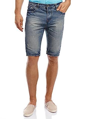 oodji Ultra Homme Short en Denim Longueur Genou, Bleu, W31 / FR 40