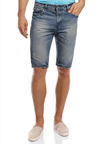 oodji Ultra Uomo Shorts in Jeans, Blu, W32 / IT 46 / EU 42