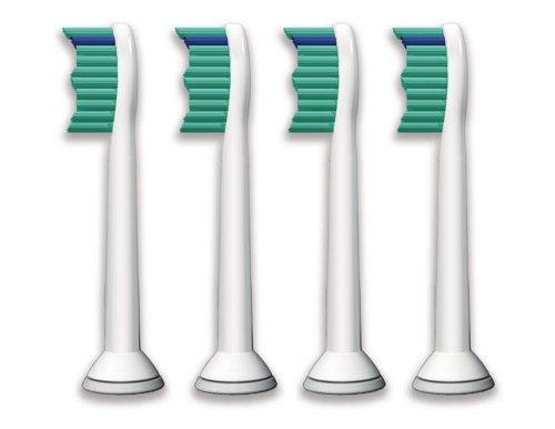 Philips Sonicare Ersatzbürsten Original ProResults HX6014/35 gelangen an schwer erreichbare Stellen & passen auf jede Sonicare Zahnbürste mit Aufsteck-System - 4er Pack, Standard, Weiß