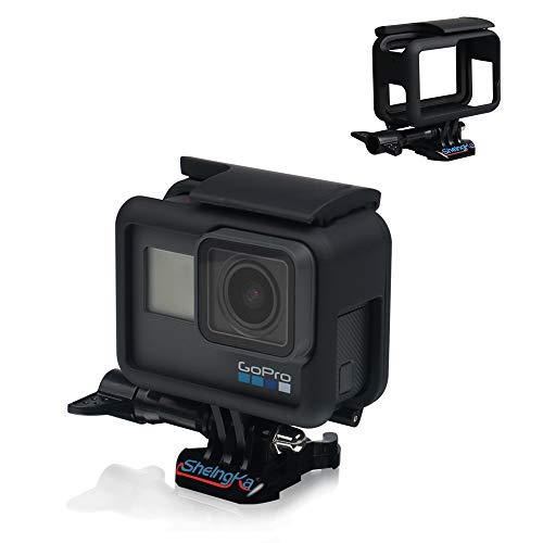 Linghuang PC Gehäuse Case für GoPro Hero 6/GoPro Hero 5, Actionkamera Zubehör Skelett Schutzhülle für Go Pro Hero 6/5 mit Fast Pull Beweglicher Sockel und Schraube